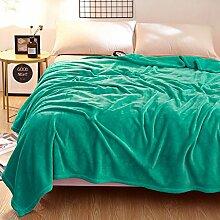 Wddwarmhome Decke Winter Solid Color Warm Decke Schlafzimmer Decke Büro Nap Nap weich und bequem Multicolor Optional Wolldecke ( Farbe : Aqua , größe : 180*200 cm )