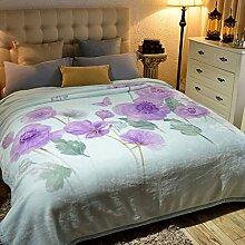 Wddwarmhome Doppelte warme Decke Lila Blumenmuster Schlafzimmer Bettdecke Decke Wohnzimmer Freizeitdecke Polyester Material Blanket Größe: 200 * 230cm Wolldecke