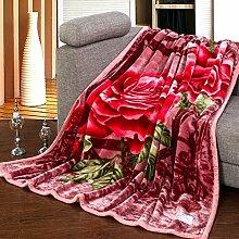 Wddwarmhome Doppelte warme Decke Polyester Material rosa Blumenmuster Schlafzimmer Bett Decke vier Jahreszeiten Freizeit Decke weich und bequem Größe: 200 * 230cm Wolldecke