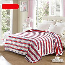 Wddwarmhome Doppelte Warme Decke Rot Gestreiftes Muster Schlafzimmer Bettdecke Decke Wohnzimmer Freizeitdecke Polyester Material Wolldecke ( größe : 150*200cm )