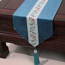 Wddwarmhome Dunkelblau Einfache moderne Tischläufer Wohnzimmer Tischdecke Couchtisch Tuch Tisch Matte Bett Flagge (nur Verkauf Tischläufer) 33 * 180cm