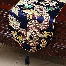 Wddwarmhome Dunkelblaue Tischläufer Klassische Tisch Tischdecke Moderne Wohnzimmer Couchtisch Stoff Bett Flagge (nur Verkauf Tischläufer) 33 * 150cm