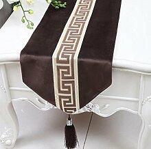 Wddwarmhome Dunkelbraun Einfache moderne Tischläufer Wohnzimmer Tischdecke Couchtisch Tuch Tisch Matte Bett Flagge (nur Verkauf Tischläufer) 33 * 180cm