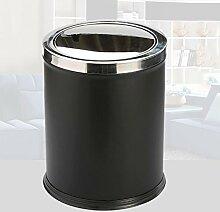 Wddwarmhome Einfache schwarze Edelstahl Leder Mülleimer Kreative Wohnzimmer Küche Große Abdeckung Die Abfalleimer Push-Stil Covered Mülleimer 10L Abfalleimer