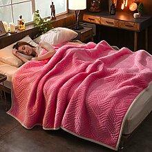 Wddwarmhome Einfarbig Decke Bett Warme Decke Wohnzimmer Freizeit Decke Polyester Material Wolldecke ( Farbe : Pink , größe : 120*200cm )