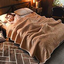 Wddwarmhome Einfarbig Decke Bett Warme Decke Wohnzimmer Freizeit Decke Polyester Material Wolldecke ( Farbe : Dark camel , größe : 150*200cm )