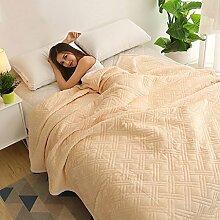 Wddwarmhome Einfarbig Decke Bett Warme Decke Wohnzimmer Freizeit Decke Polyester Material Wolldecke ( Farbe : Beige , größe : 180*200cm )