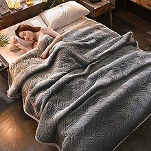 Wddwarmhome Einfarbig Decke Bett Warme Decke Wohnzimmer Freizeit Decke Polyester Material Wolldecke ( Farbe : Hellgrau , größe : 120*200cm )