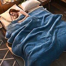 Wddwarmhome Einfarbig Decke Bett Warme Decke Wohnzimmer Freizeit Decke Polyester Material Wolldecke ( Farbe : Lake blue , größe : 120*200cm )