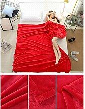 Wddwarmhome Einfarbig Decke Warme Decke Schlafzimmer Bettdecke Decke Freizeitdecke Reise Decke Polyester Material Wolldecke ( Farbe : Rot , größe : 200*230cm )
