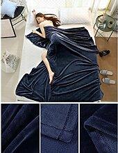 Wddwarmhome Einfarbig Decke Warme Decke Schlafzimmer Bettdecke Decke Freizeitdecke Reise Decke Polyester Material Wolldecke ( Farbe : Dunkelblau , größe : 150*200cm )