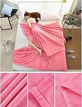 Wddwarmhome Einfarbig Decke Warme Decke Schlafzimmer Bettdecke Decke Freizeitdecke Reise Decke Polyester Material Wolldecke ( Farbe : Pink , größe : 200*230cm )