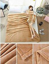 Wddwarmhome Einfarbig Decke Warme Decke Schlafzimmer Bettdecke Decke Freizeitdecke Reise Decke Polyester Material Wolldecke ( Farbe : Beige , größe : 150*200cm )