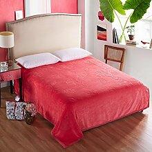 Wddwarmhome Einfarbig Geschnitzte Warme Decken Winter Bett Decken Vier Jahreszeiten Freizeit Decken Weich Und Bequem Wolldecke ( Farbe : Rot , größe : 150*200cm )