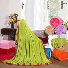 Wddwarmhome Einfarbig Warme Decke Schlafzimmer Bettdecke Decke Sofa Abdeckung Decke Freizeitdecke Reise Decke Polyester Material Wolldecke ( Farbe : Grün , größe : 150*200cm )
