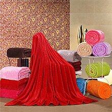 Wddwarmhome Einfarbig Warme Decke Schlafzimmer Bettdecke Decke Sofa Abdeckung Decke Freizeitdecke Reise Decke Polyester Material Wolldecke ( Farbe : Rot , größe : 150*200cm )