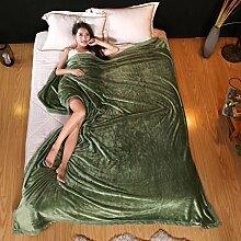 Wddwarmhome Einfarbig Winter Warme Decke Wohnzimmer Freizeit Decke Hotel Bettdecken Vier Jahreszeiten Erhältlich Weich Und Bequem Wolldecke ( Farbe : Grün , größe : 200*230cm )
