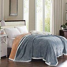 Wddwarmhome Einfarbige doppelte warme Decke vier Jahreszeiten wenden Streifen-Muster-Polyester-Material an Wolldecke ( Farbe : Dunkelgrau , größe : 200*230cm )