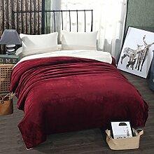 Wddwarmhome Einfarbige doppelte warme Decke Winter Schlafzimmer Bettdecken vier Jahreszeiten verfügbar weich und komfortabel Wolldecke ( Farbe : Rot , größe : 150*200cm )