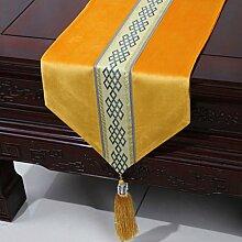 Wddwarmhome Gelb Einfache moderne Tischläufer Wohnzimmer Tischdecke Couchtisch Tuch Tisch Matte Bett Flagge (nur Verkauf Tischläufer) 33 * 300cm