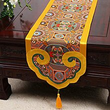 Wddwarmhome Gelb Tischläufer Klassische Stickerei Moderne einfache Tisch Tischdecke Couchtisch Tuch (nur Verkauf Tischläufer) 35 * 300cm