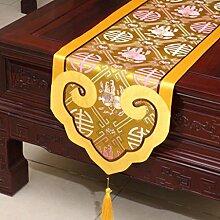 Wddwarmhome Gelb Tischläufer Klassische Stickerei Moderne Einfache Tisch Tischdecke Couchtisch Tuch (nur Verkauf Tischläufer) 35 * 200cm