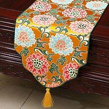 Wddwarmhome Gelb Tischläufer Klassische Tisch Tischdecke Moderne Wohnzimmer Couchtisch Stoff Bett Flagge (nur Verkauf Tischläufer) 33 * 300cm
