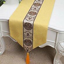 Wddwarmhome Gelb Tischläufer Mode Einfach Tisch Tisch Tisch Wohnzimmer Couchtisch Stoff Bett Flagge (nur Verkauf Tischläufer) 33 * 300cm