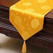 Wddwarmhome Gelb Tischläufer Pastoral Tischdecke Couchtisch Stoff Bett Fahne Schrank Flagge Lang Tisch Tischdecke (nur Verkauf Tischläufer) 33 * 150cm