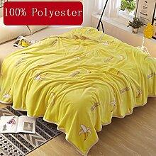 Wddwarmhome Gelb Warme Decke Bananenmuster