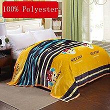 Wddwarmhome Gelb Warme Decke Streifen Muster Schlafzimmer Bettdecke Decke Freizeitdecke Reise Decke Polyester Material Wolldecke ( größe : 150*200cm(1.2m) bed )