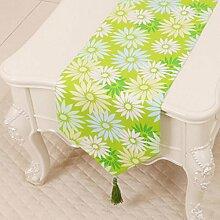 Wddwarmhome gemischte Farbe Blumenmuster Tischläufer Einfache Pastoral Tischdecke Couchtisch Stoff Bett Flagge Schrank Flagge Tischplatte Lange Tischdecke Leinwand (nur Verkauf Tischläufer) 33 * 300cm