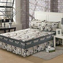 Wddwarmhome Grau Blumenmuster Bett Rock Baumwolle Korean Stil Tagesdecken Home Pastoral Stil Bettwäsche Bettwäsche ( größe : 120*200cm )