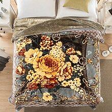 Wddwarmhome Grau Grün Warme Decke Pflanze Blumenmuster Raschel Decke Schlafzimmer Bettdecke Decke Wohnzimmer Freizeit Blanket Größe: 200 * 230cm Wolldecke