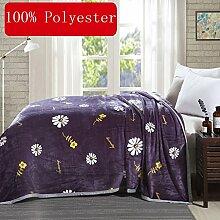 Wddwarmhome Grau-lila Warme Decken Weiß Blumenmuster Schlafzimmer Bettdecke Decke Freizeitdecke Reise Decke Polyester Material Wolldecke ( größe : 200*230cm )
