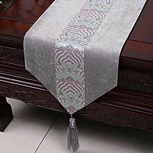 Wddwarmhome Grau Tischläufer Klassische Einfache Tisch Tischdecke Couchtisch Tuch (nur Verkauf Tischläufer) 33 * 230cm