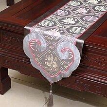 Wddwarmhome Grau Tischläufer Klassische Stickerei Moderne Einfache Tisch Tischdecke Couchtisch Tuch (nur Verkauf Tischläufer) 35 * 200cm