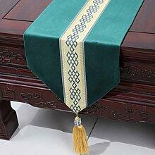 Wddwarmhome Grün Einfache moderne Tischläufer Wohnzimmer Tischdecke Couchtisch Tuch Tisch Matte Bett Flagge (nur Verkauf Tischläufer) 33 * 180cm