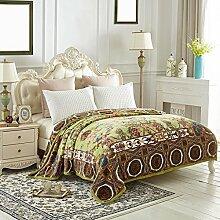 Wddwarmhome Grün Warme Decke Pflanze Blumenmuster Schlafzimmer Bettdecke Wohnzimmer Freizeitdecke Polyester Material Größe: 200 * 230cm Wolldecke