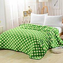 Wddwarmhome Grün Warme Decke Schlafzimmer Bettdecke Decke Wohnzimmer Lässig Decke Polyester Material Kleine Gelbe Blumen Muster Wolldecke ( größe : 120*200cm )