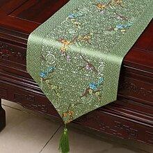 Wddwarmhome Grünes Blumenmuster Pastoral Tischläufer Tischdecke Couchtisch Stoff Bett Flagge Schrank Flagge Tischplatte Lange Tischdecke (nur Verkauf Tischläufer) 33 * 230cm