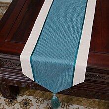 Wddwarmhome Hellblau Einfache moderne Tischläufer Wohnzimmer Retro Klassische Tischdecke Couchtisch Tuch Tisch Matte Bett Flagge (nur Verkauf Tischläufer) 33 * 150cm