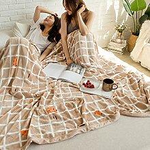 Wddwarmhome Hellbraun Warme Decke Weiß Gestreiftes Muster Schlafzimmer Bettdecke Wohnzimmer Casual Decke Sofa Decke Polyester Material Wolldecke ( größe : 150*200cm )