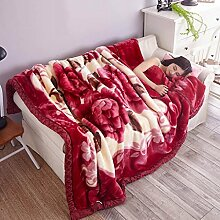 Wddwarmhome Herbst und Winter warme Decke Polyester Material Pflanze Blumenmuster Schlafzimmer Bett Decke Wohnzimmer Freizeit Decke weich und komfortabel Wolldecke ( größe : 200*230 cm )