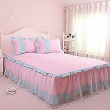 Wddwarmhome Home Textilien Blumenmuster Bettwäsche Bettwäsche Einzelstück Bett Rock Baumwolle Tagesdecke Bettwäsche ( Farbe : Pink , größe : 200*220cm )