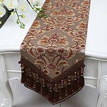 Wddwarmhome Kaffee Farbe Tischläufer Mode Einfach Tisch Tisch Tisch Wohnzimmer Couchtisch Tuch (nur Verkauf Tischläufer) 33 * 180cm