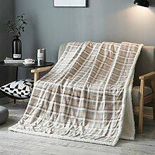 Wddwarmhome Khaki Blanket Polyester Material Schlafzimmer Bett Decke Wohnzimmer Freizeit Decken Weich Und Bequem Größe: 200 * 220 cm Wolldecke