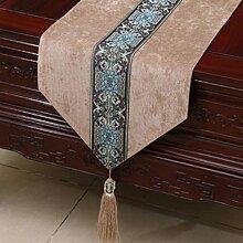 Wddwarmhome Khaki Tischläufer Einfache moderne Pastoral Tischdecke Wohnzimmer Couchtisch Tuch Tisch Matte Bett Fahne Stoff Material (nur Verkauf Tischläufer) 33 * 200cm