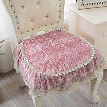 Wddwarmhome Kissen Rosa rutschfeste Gewebe Plüsch vier Jahreszeiten Normallack Spitze Spitze Kissen Kissen Esszimmer Kissen Stuhl Matte Größe: 50 * 50cm