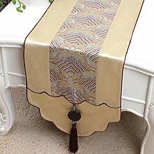 Wddwarmhome Licht Gelb Tischläufer Jacquard Tisch Tischdecke Wohnzimmer Couchtisch Tuch Tisch Matte (nur Verkauf Tischläufer) 33 * 180cm
